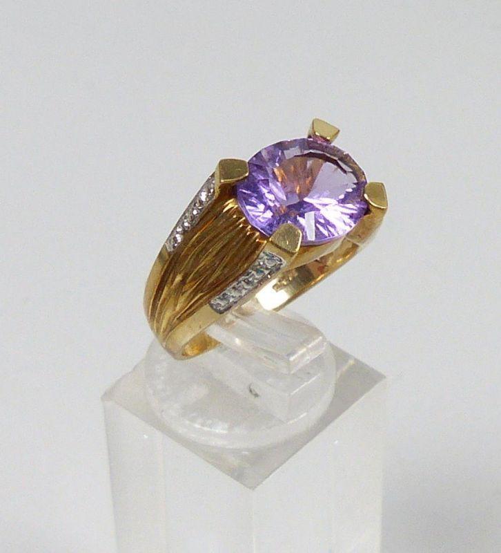 Ring 375 Gold mit Amethyst, Gr. 57  (c7554) 1