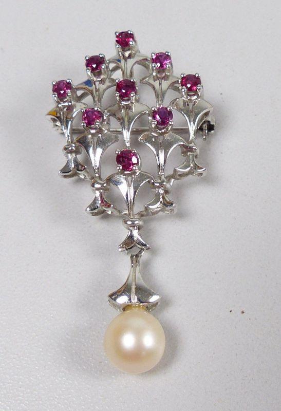 Brosche aus 585 Weißgold mit 9 Rubinen und Perle  (c7480)