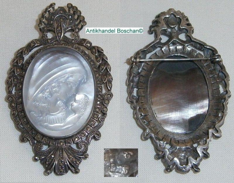 Original alte Gemme gefaßt in 925 Silber mit Markasiten   (d0520)