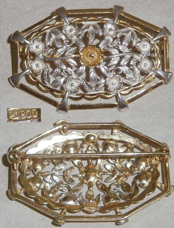 Brosche 800 Silber teilvergoldet