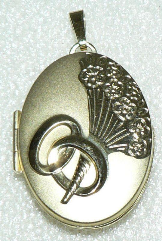 Hochzeits-Medaillon aus 333er Gold zum Aufklappen für Bilder, neuwertig (da2618)