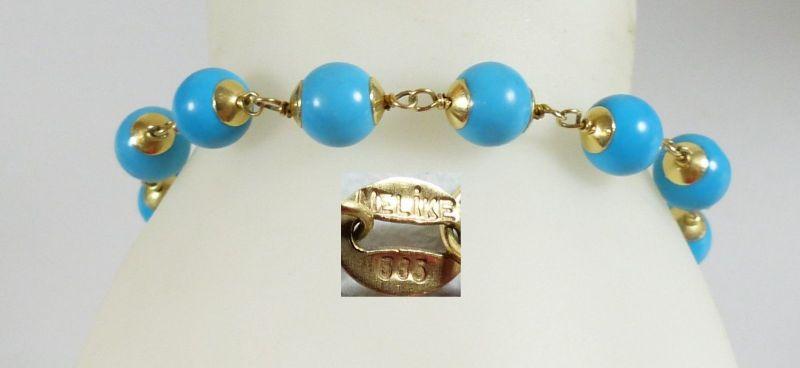 Armband aus 585 Gold mit Türkise und signiert          (da5486)