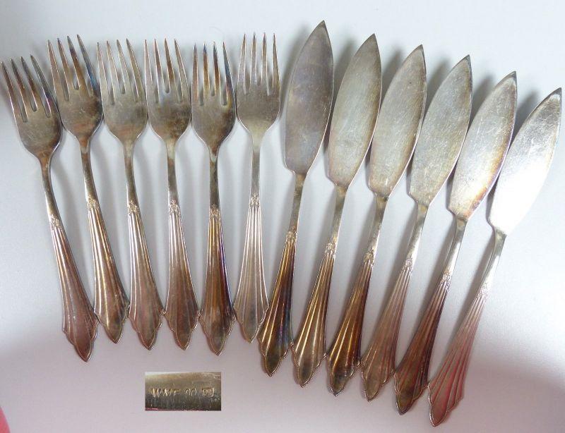 WMF Fächermuster Fischbesteck für 6 Personen Silberauflage   (da5507)