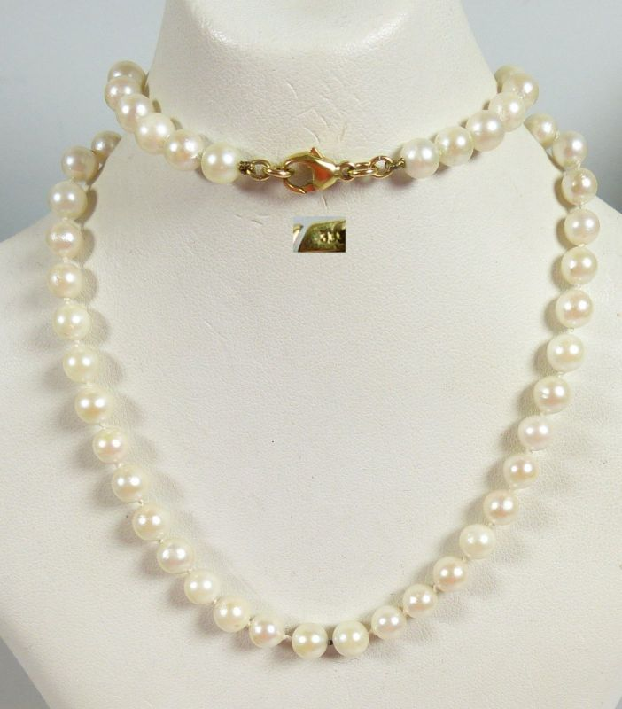 Zuchtperlenkette Perlen-Kette mit Schloß aus 333 Gold   (da5501)