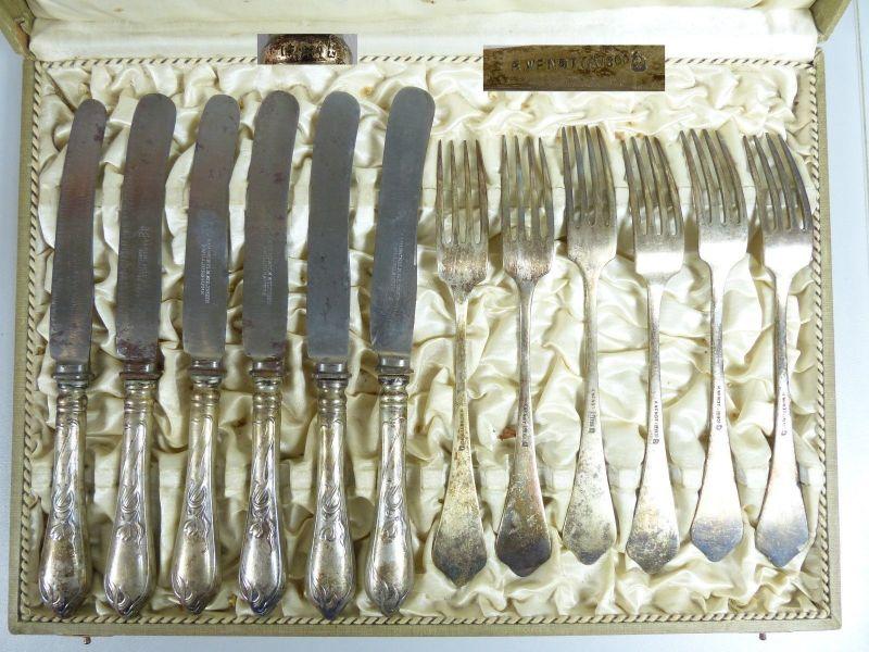 12-teiliges Jungendstilbesteck 800 Silber signiert in OVP   (da5519)