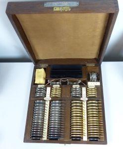 original alter Optiker Probierkasten komplett um 1900      (da5521)