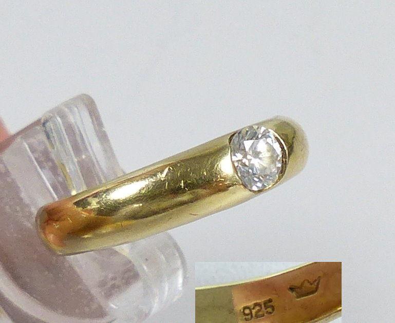Ring aus 925 Silber vergoldet mit weißem Stein, Gr. 59/Ø 18,8 mm  (da5541)