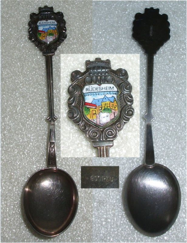 Toller alter Sammlerlöffel aus 800er Silber Rüdesheim Drosselgasse (da3626)