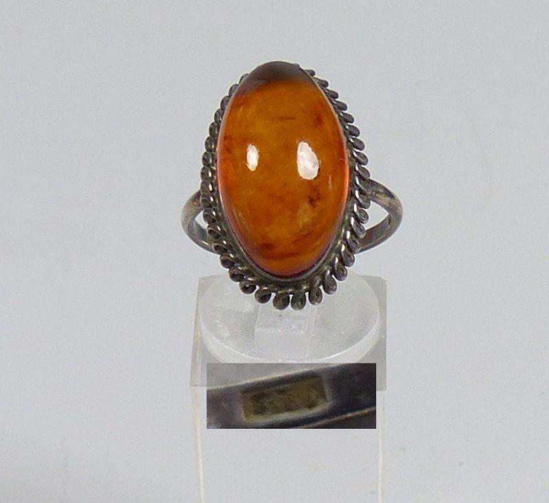 Russischer Ring aus 875 Silber mit Bernstein/Amber, Gr. 58/Ø 18,4 mm  (da5538)