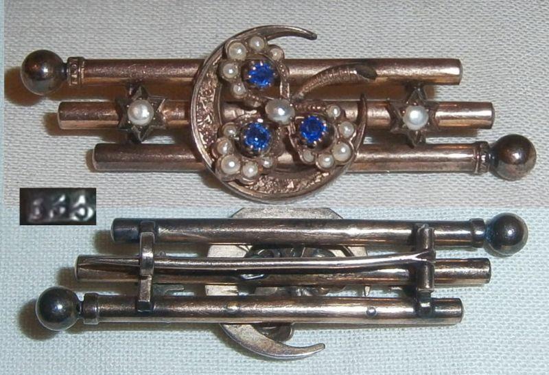 Gründerzeit-Brosche aus 333 Gold mit Perlen und blauen Steinen