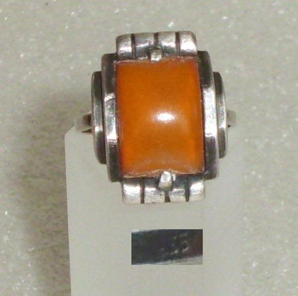 Art Déco Ring aus 835er Silber mit Bernstein/Amber, Gr. 57 Ø 18,1 mm (da3694)