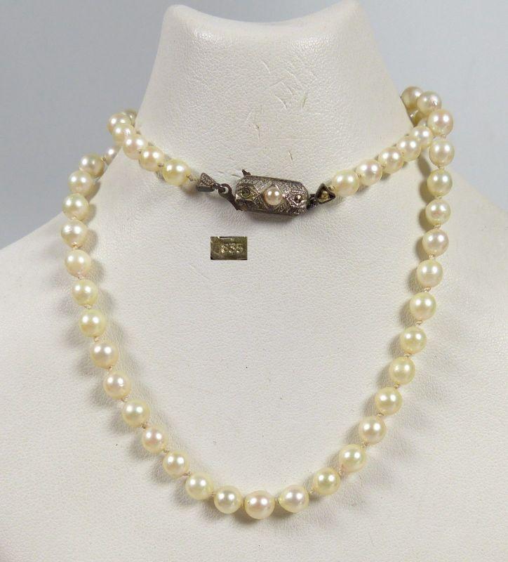 Perlen-Kette mit Zierverschluß aus 835 Silber Perle u. Markasiten  (da5546)