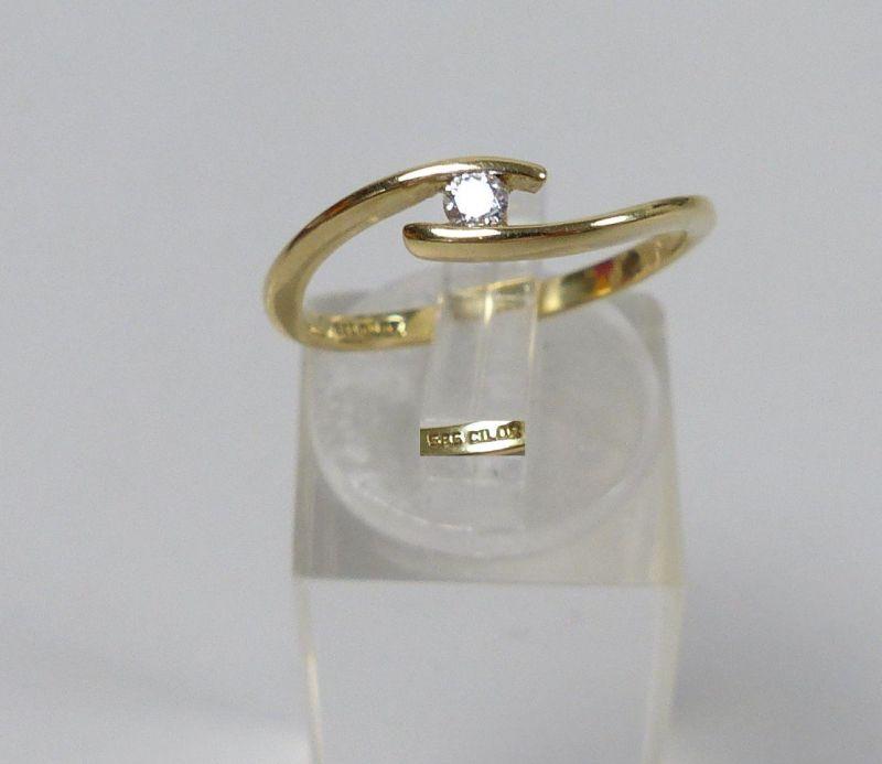 Ring aus 585 Gold mit Zirkonia, Gr. 56/Ø 17,8 mm  (da5477)