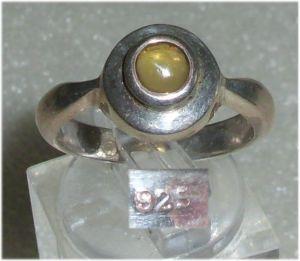 Ring aus 925er Silber mit citrinfarbenen Stein,  Gr. 55, Ø 17,5 mm  (da3689)