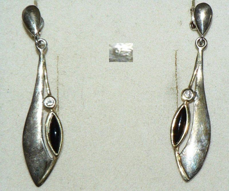 Ohrringe/Stecker aus 925er Silber  mit Onyx  (da5564)