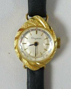 original alte DUGENA-Armbanduhr aus 585 Gold mit machnischem Aufzug   (ds5574)