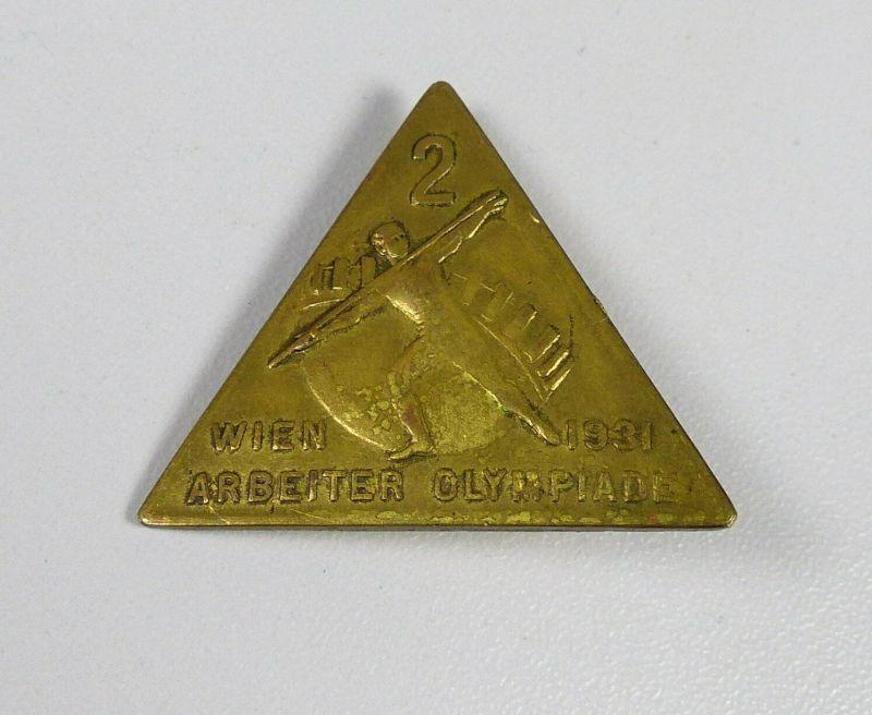 original altes Abzeichen Wien 1931 Arbeiter Olympiade, hinten signiert (da5570)