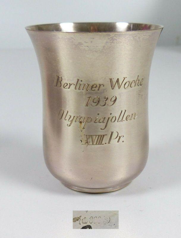 Silberbecher 800 Silber Berliner Woche 1939 Olympiajollen VIII. Pr.   (da5568)