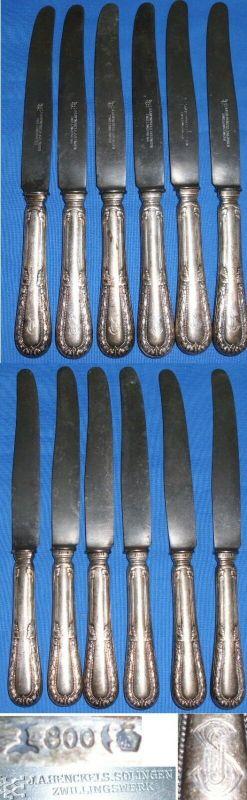 6 alte Messer aus 800 Silber mit Monogramm