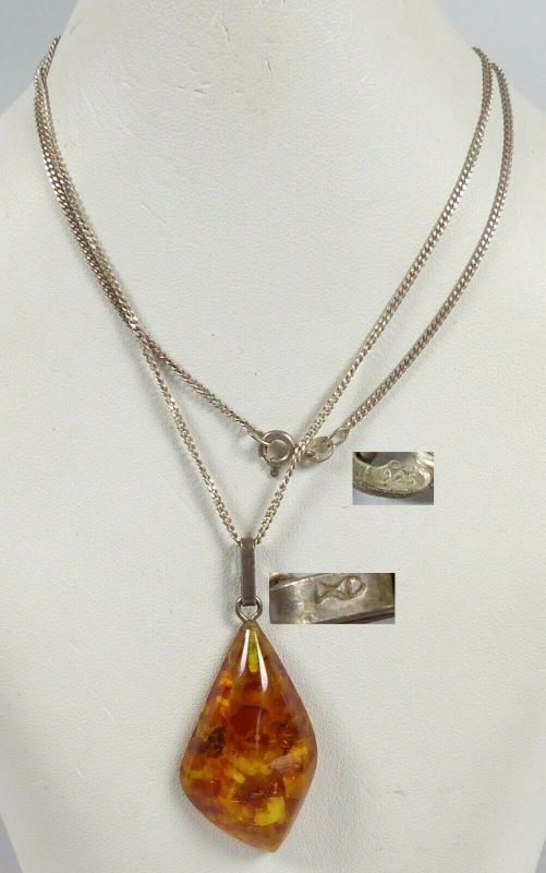 Bernstein/Amber-Anhänger Fischland mit Silberkette aus 925 Silber    (da5587)