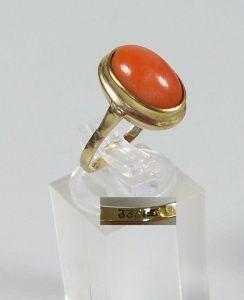 Ring aus 333er Gold mit Koralle, Gr. 54/Ø 17,2 mm  (da5591)