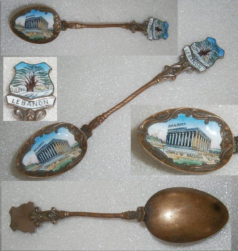 Sammler-Löffel LEBANON mit Wappenund Laffe aus Emaille mit Bacchus-Tempel