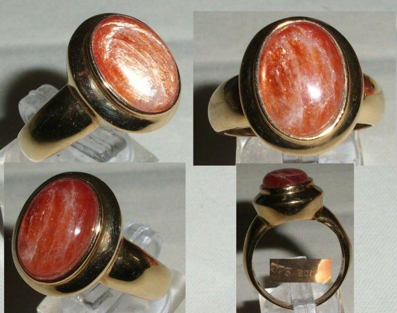 Ring 375er Gelbgold mit Sonnenstein, Gr. 64 (C7616)