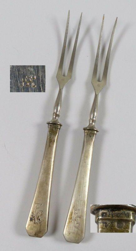 2 Vorlegegabeln mit Griffen aus 800 Silber   (da5604)
