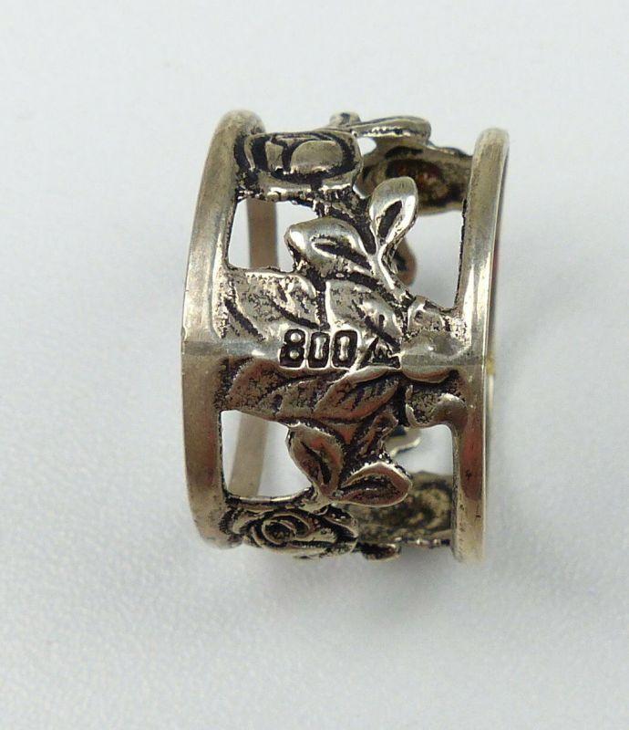 6 Sertviettenringe aus 800er Silber mit Rosen für Papierservietten (da4513) 2
