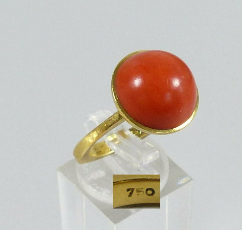 Fantastischer Ring aus 750 Gold mit Koralle, Gr. 53,5/Ø 17 mm  (da5627)