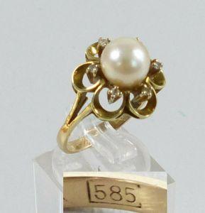 Ring aus 585 Gold mit Perle und Diamanten 0,06 ct., Gr. 59/Ø 18,8 mm  (da5626)
