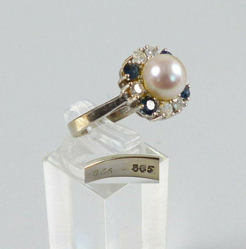 Diamant Ring aus 585 Weißgold mit Perle und Saphiren, Gr. 58/Ø 18,4 mm  (da5625)
