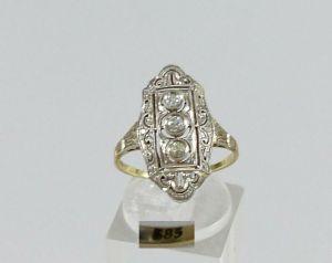 Schöner alter Diamant Ring aus 585 Gelbgold, Gr. 56/Ø 17,8 mm  (da5623)