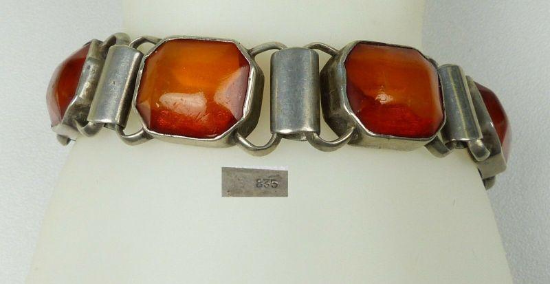Altes Armband aus 835er Silber mit Bernstein/Amber  (da5583)