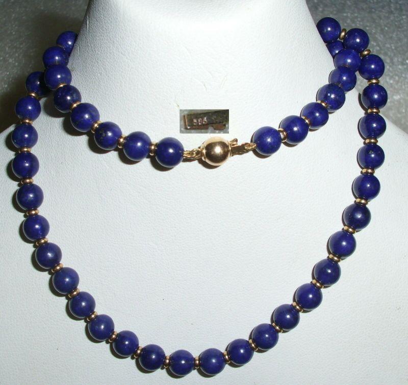 Sehr schöne Lapislazuli-Perlen-Kette 41 cm mit Verschluß aus 585er Gold (da3987)