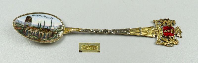 Original alter emaillierter Andenkenlöffel aus 800er Silber (da4829)