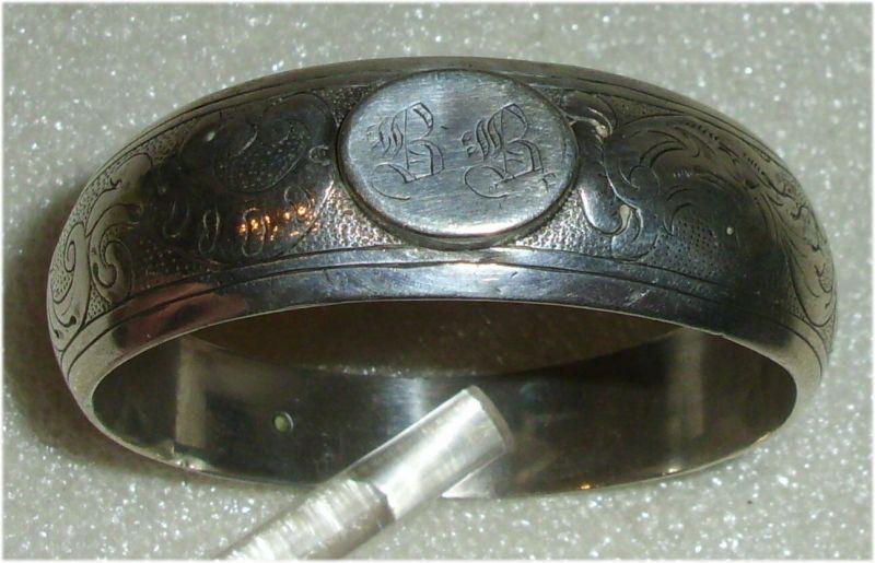 Gründerzeit Serviettenring Silber mit Monogram B B  (da3345)