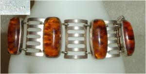 Armband Fischland aus 835er Silber mit Bernsteinen/Amber (da3367)