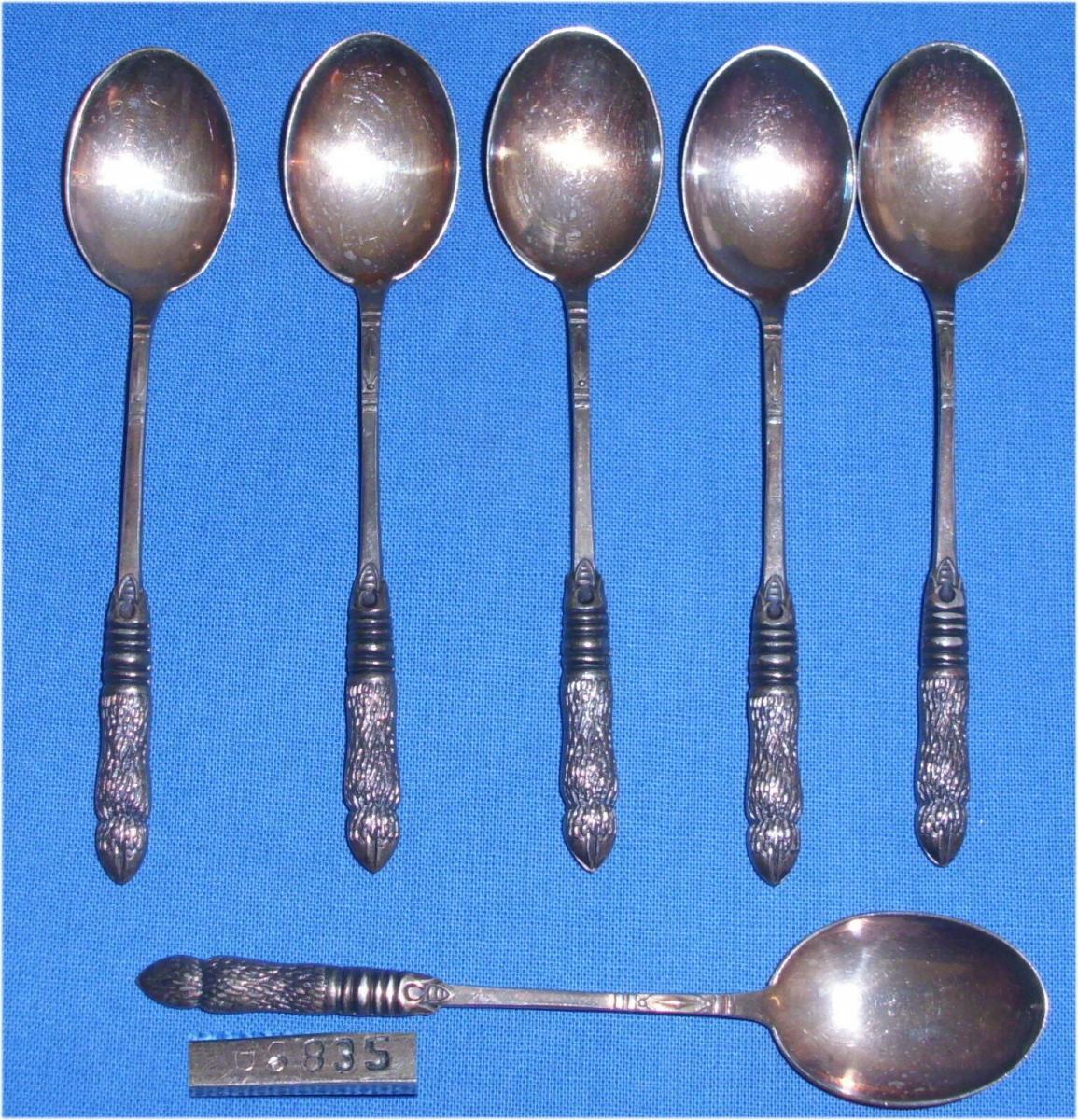 6 original alte Mokkalöffel 835er Silber Görlitzer Silberwarenfabrik (da3487)