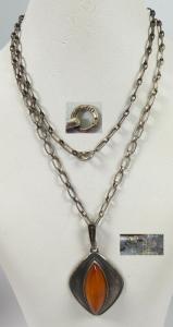 Kette aus 800 Silber mit Anhänger 925 aus Silber mit Bernstein/Amber  (da5653)