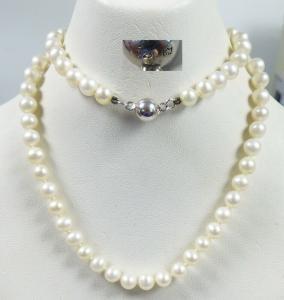 Zuchtperlenkette Perlen-Kette mit Magnet-Schloß aus 925 Silber   (da5647)