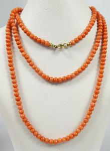 Lachs Korallen Kette 223 Perlen Engelshaut   (da5656)