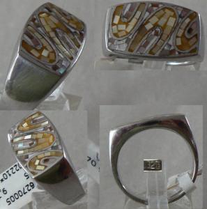 Ring Gr. 60 aus 925 Silber mit Mosaik Perlmut gelb