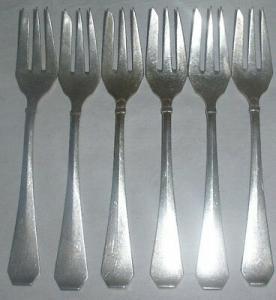 6 alte Kuchengabeln V.S.F. Silberauflage