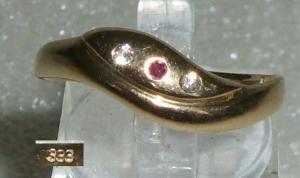 Ring 333er Gold mit Rubin und Zirkonia, Gr. 59,5  Ø 18,8 mm (da2879)