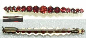 Granat-Brosche aus 800 Silber vergoldet, 3,4 Gramm, (da2818)