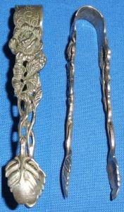 original alte Zuckerzange Silber Rose