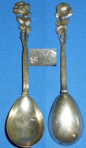 alter Vorlegelöffel 800 Silber Rose    (c0555)