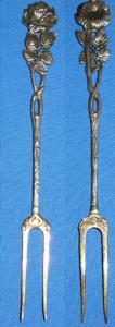 alte Vorlegegabel Silber Rose     (c0533)