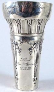 Alter Jugendstil Pokal in Silber Bahnrennen 9.6.1912    (si0708)